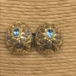 Jewelry - Blue topaz earrings in silver and 18K